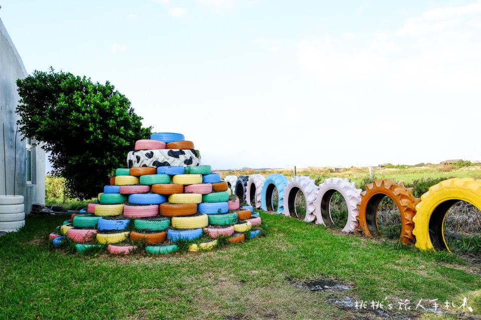 IG打卡祕境》彰化福寶村彩繪輪胎公園(牛稠古厝民宿)│發揮創意讓廢棄輪胎變裝置藝術!