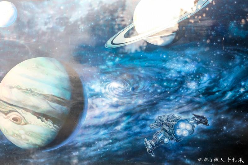 彰化打卡景點》二林 萬興國小│3D彩繪牆 銀河系.侏羅紀.海洋世界...