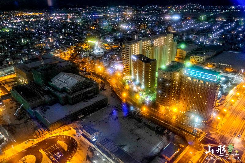 山形景點》霞城セントラル展望台│市區高樓層夜景 免費開放參觀