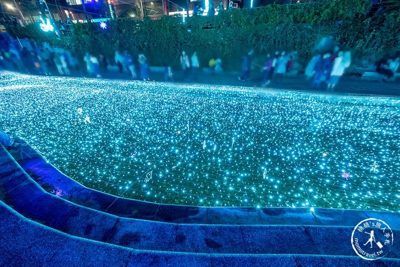 新北景點》新莊中港大排 幸福藍調光雕燈飾│幸福點燈了!!!